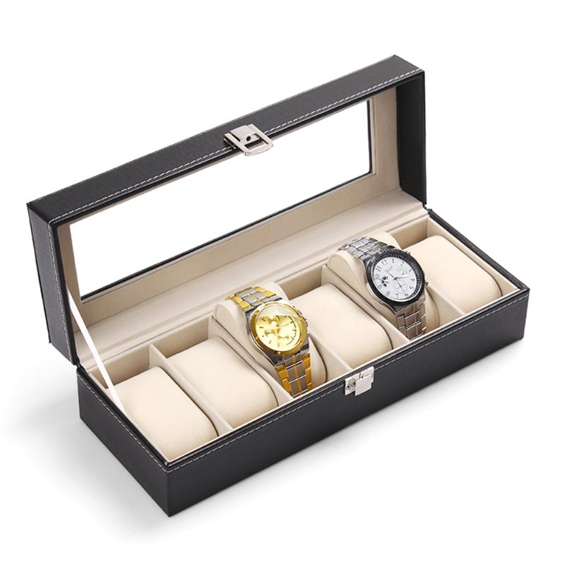6 Slots Watch Case Box Jewelry Storage Box with Cover Case Jewelry Watches Display Holder Organizer 2018 high quality pu leather 12 slots wrist watch display box storage holder organizer watch case jewelry dispay watch box