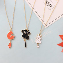 Free Shipping Cartoon Cute Cats Rabbit Fox Pendant Long Necklaces Sweater Chain Necklaces Fashion Jewelry For Women Gift(China)