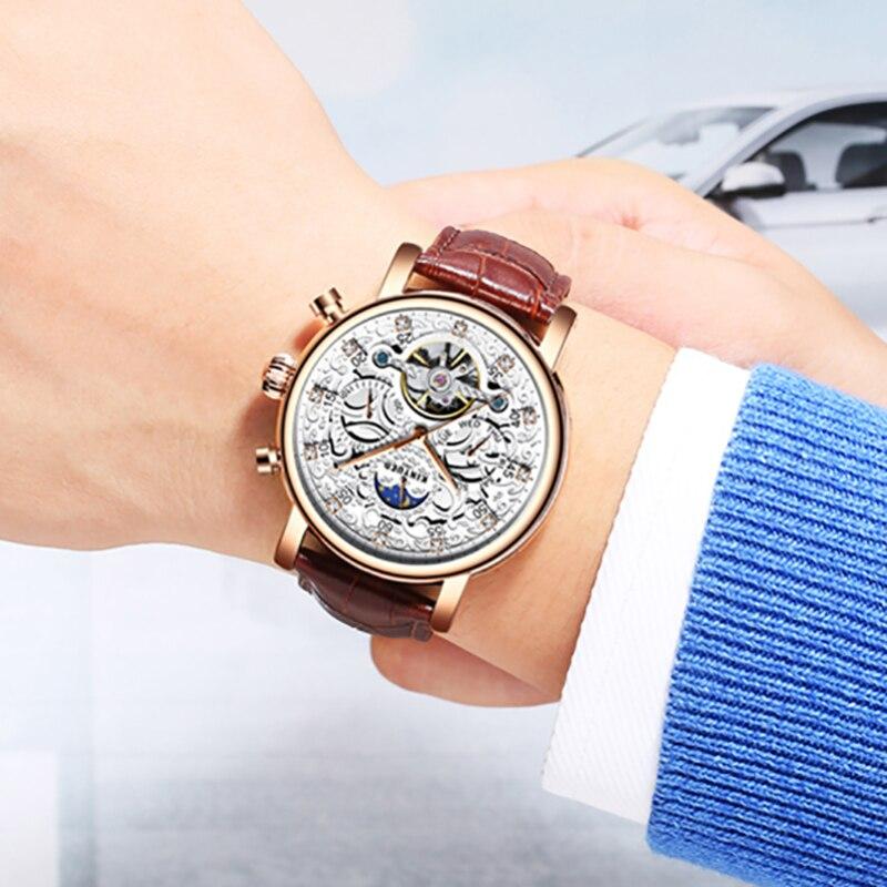 KINYUED esqueleto automático reloj hombres sol Luna fase impermeable hombres Tourbillon relojes mecánicos marca superior relojes de pulsera de lujo - 5