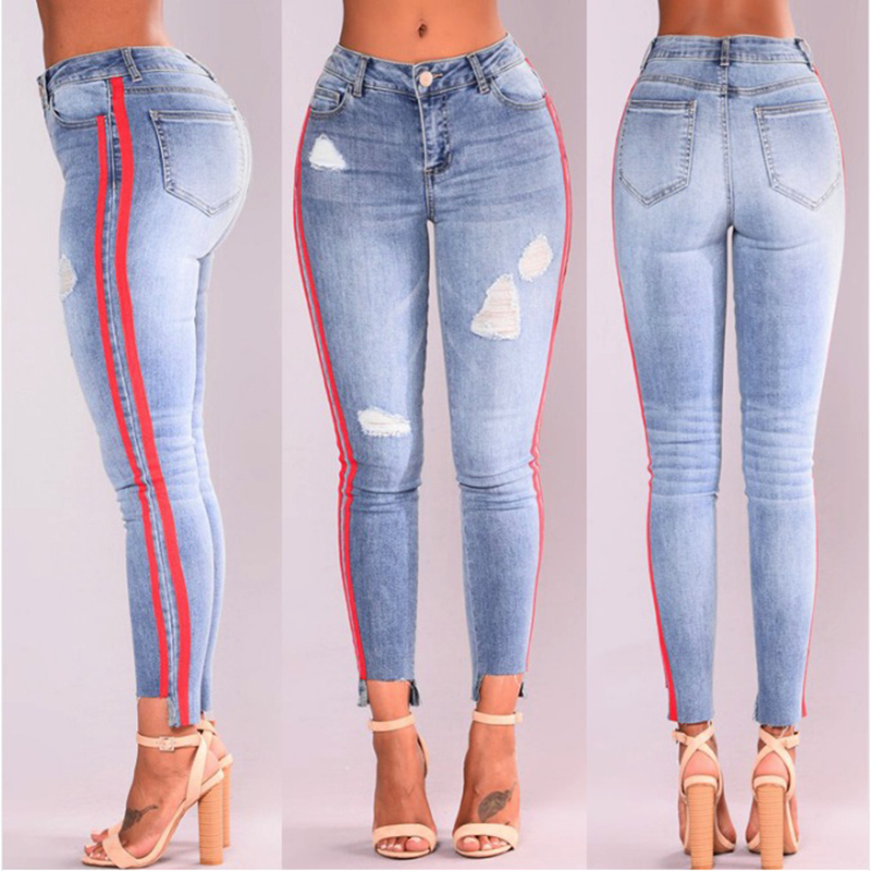 High Street Jeans Women Basic Classic High Waist Skinny Pencil Denim Pants Side Striped Ripped Hole Elastic Stretch Jeans Women