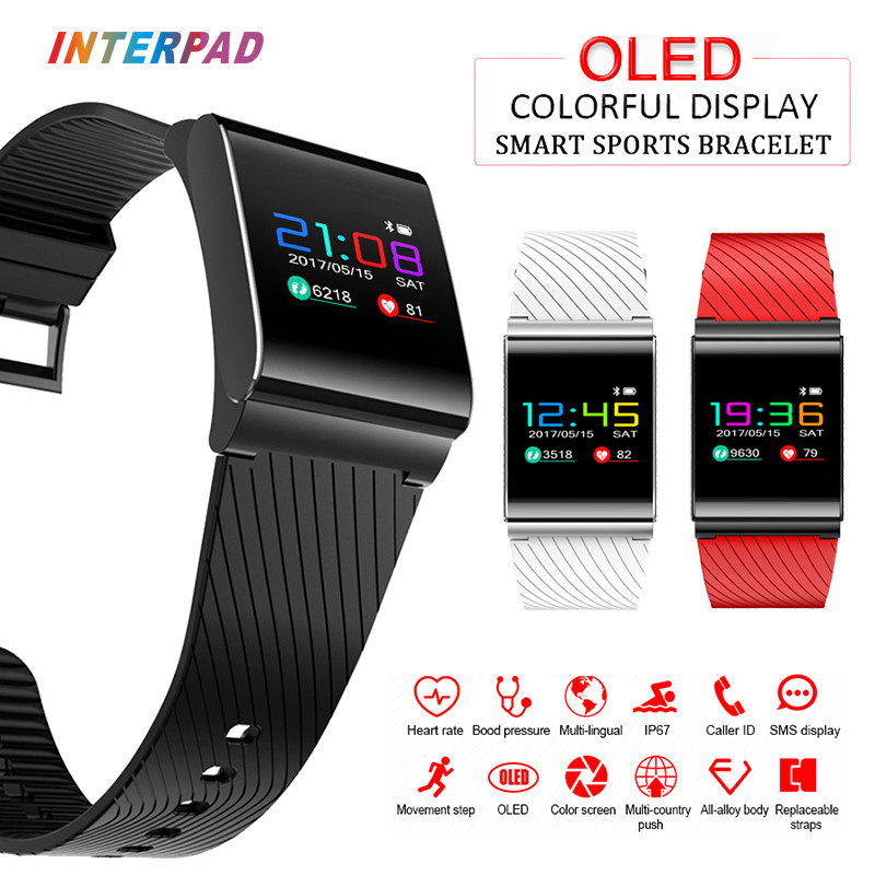 Interpad World's First Colorful Screen Smart Wristband With Blood Pressure Heart Rate Tracker Smart Band Watch Fitness Tracker high quality thickening tpu silicone cover for ipad air ipad 5 case fashion soft transparent froste cover air1 tablet pc stand