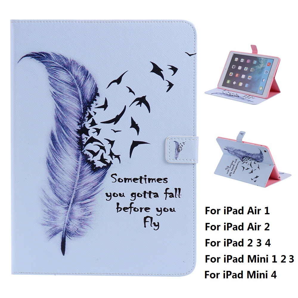 Feather and Plastic Back Cover Case For iPad Mini 1 2 3 4 iPad Air 1 2 iPad 2 3 4 for ipad mini4 cover high quality soft tpu rubber back case for ipad mini 4 silicone back cover semi transparent case shell skin