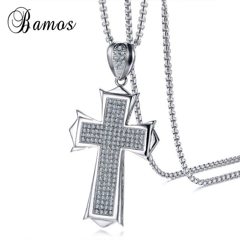 Bamos hombres cruz cristiana Collares y colgantes con AAA circón joyería de acero inoxidable vintage Collares para hombres