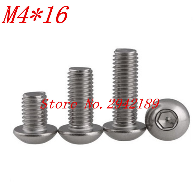 100pcs iso7380 M4*16 M4 x 16 A2-70 stainless steel button head screw  100pcs iso7380 M4*16 M4 x 16 A2-70 stainless steel button head screw