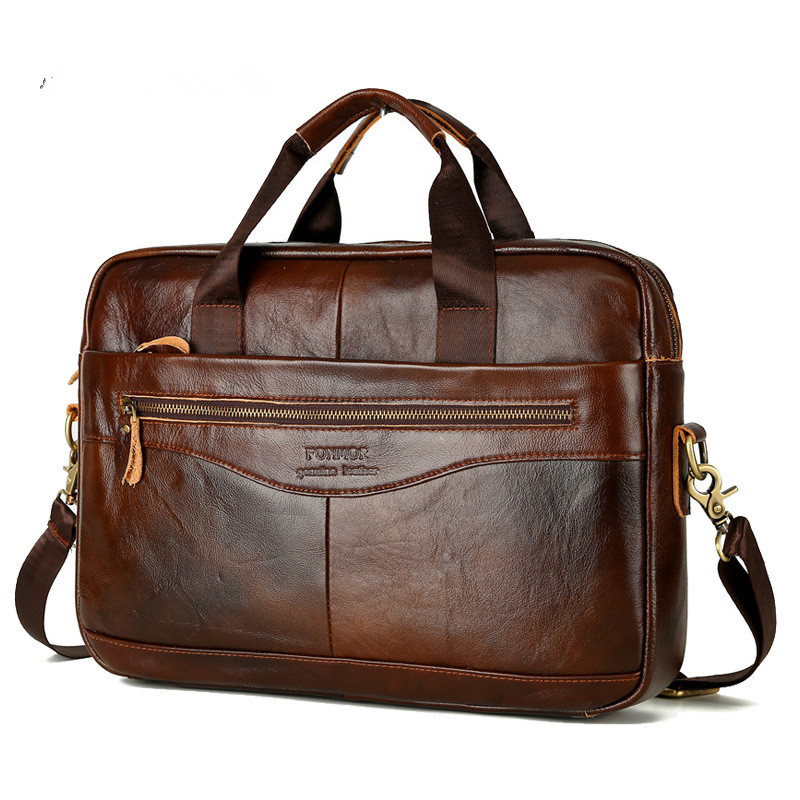 Famous Brand Men's Briefcase Satchel Bags For Men Business Handbag Genuine Leather Messenger 14' Laptop Bag Men's Travel Bags