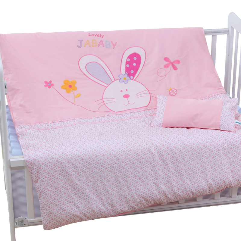 4pcs Cotton Baby Cot Bedding Set Bedding Detachable Quilt Pillow Newborn Cartoon Bear Rabbit Crib Bumpers Sheet Cot Bed Linen crib comforter baby sheet baby bedding 100% cotton cartoon sets detachable quilt pillow bumpers cot fitted sheet newborn cute