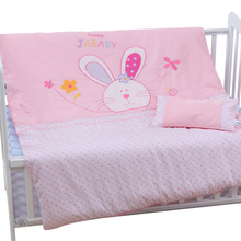 4pcs Cotton Baby Cot Bedding Set Bedding Detachable Quilt Pillow Newborn Cartoon Bear Rabbit Crib Bumpers Sheet Cot Bed Linen