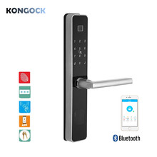 Bluetooth APP remote and keyless fingerprint smart door lock, RFID Card and password or e-keys access with mechanical key yellow ls 9 diy fingerprint door lock with password and mechanical key