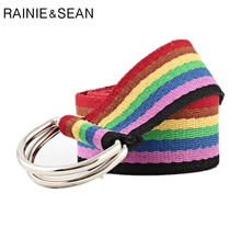 RAINIE SEAN Colorful Women Belt Canvas Double Ring For Jeans 2019 New Fashion Casual Trousers 130cm