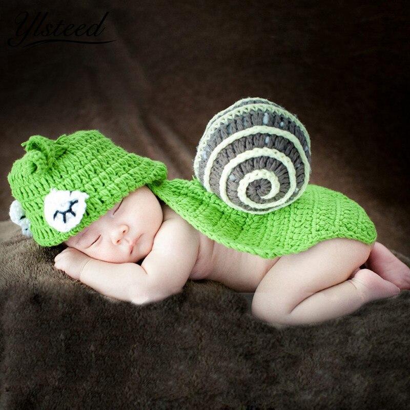 Newborn photography props Green Snail Toddler Baby Boy Girl Beanies Costume Set Crochet Animal Caps