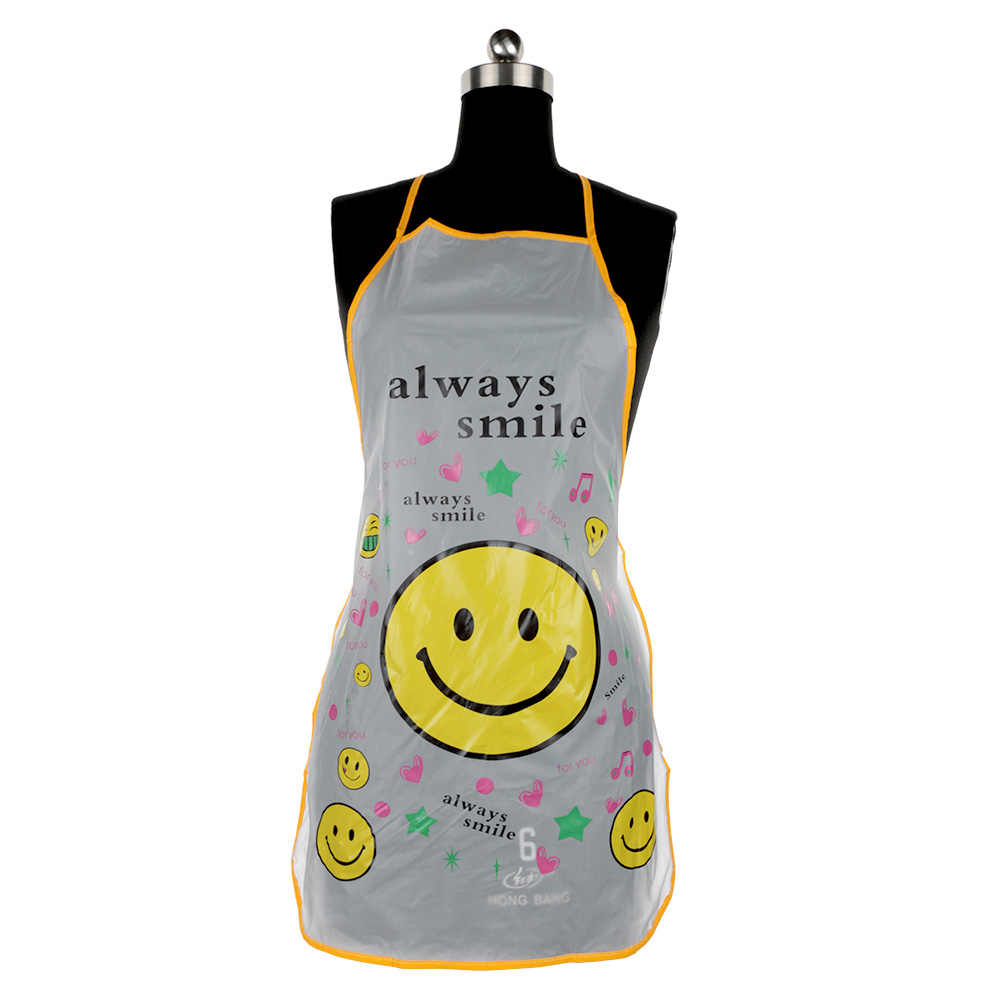 1pc Cartoon Smile Apron Kitchen Household Cleaning Cute Face Oil Waterproof Sleeveless Plastic Kitchen Accessories portable