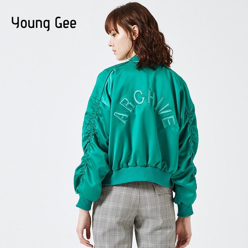 Young Gee Green Loose Basic Jackets Women Oversize Spring Autumn Bomber Jacket Casual Boyfriend Windbreaker Coat chaqueta mujer