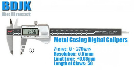 0~200mm Metal Casing Digital Caliper / Caliper / Measuring Tool / Instrument with 0.03mm Limit Error engineers 200mm height measuring caliper carbide scratcher scriber