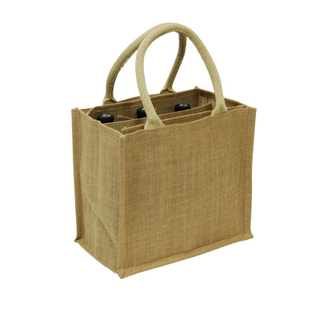 Us 514 28 8 Off T054 Free Shipping 100pcs Lot 30x19x35cm Whole Six 6 Bottles Jute Wine Bottle Bags With Divider Corded Handle Custom Accept In