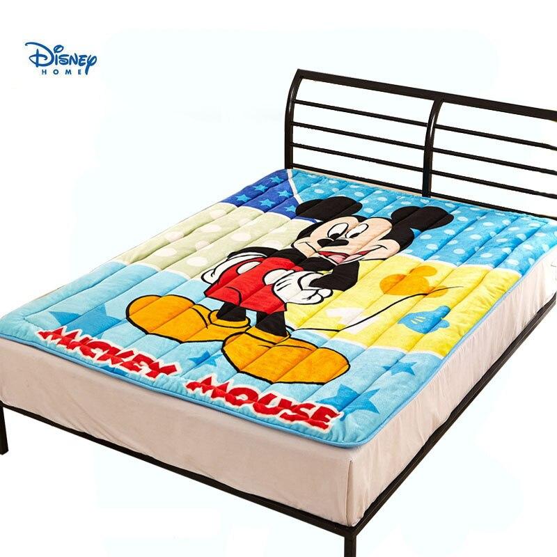 Disney Mickey Mouse Flanel Matras Topper Met Vulling Twin Volledige Queen Size Bescherming Matras Zachte 3d Bed Cover Kid Gift Goedkope Verkoop