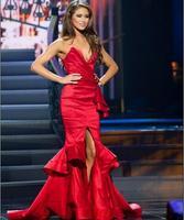 Пикантные высокий разрез Русалка темно красный Вечерние платья Глубокий V шеи корсет Назад Многоуровневое юбка бордовый на выпускной