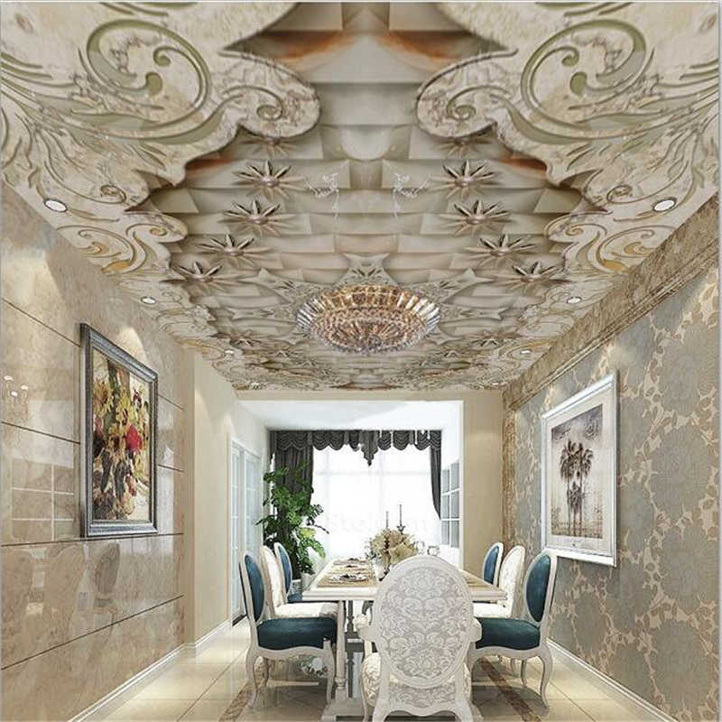 wellyu Custom wallpaper 3d ceiling exquisite luxury marble ceiling living room murals papel de parede wallpaper for walls 3 d