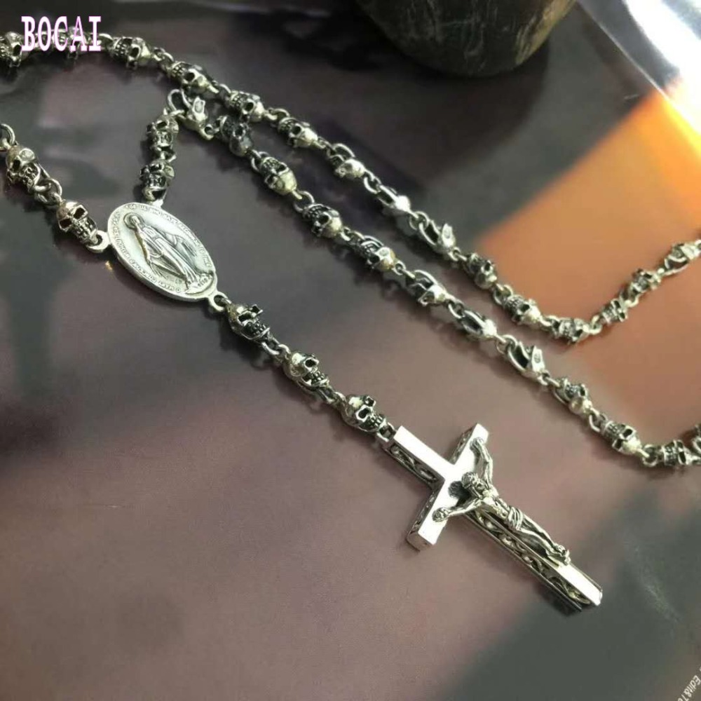 100% real S990 solid sterling silver Stylish personality cross necklace glamour man's necklace