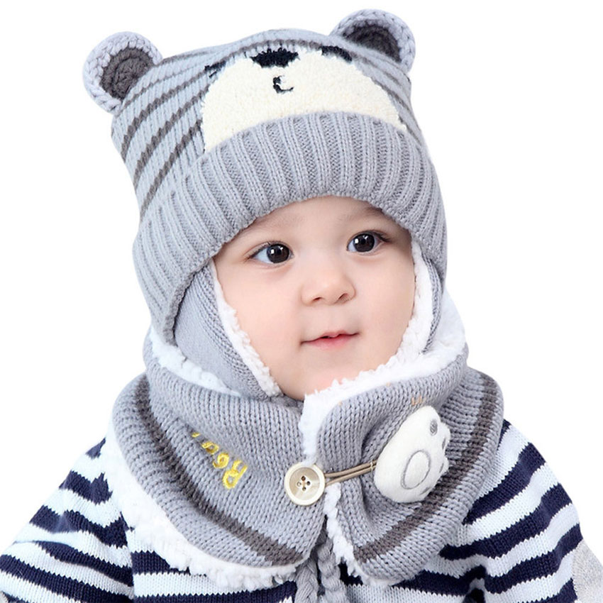 Unisex Kids Cartoon Bear Stripe Hats And Scarf Baby Cap Set Girl Boy Cap Scarf Set Child Winter Earmuffs Hat Scarf Warm Suit