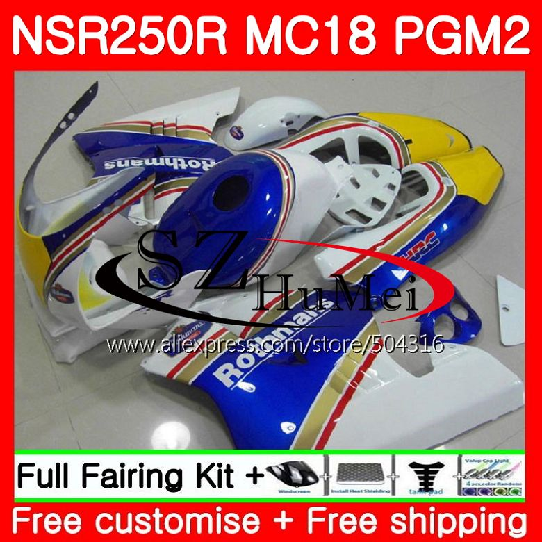 MC18 For HONDA PGM2 NSR250 Rothmans Blue <font><b>NSR</b></font> <font><b>250</b></font> R NSR250R 88 89 124SH13 MC16 <font><b>NSR</b></font> 250R NS250 RR NSR250RR 1988 1989 88 89 Fairing image