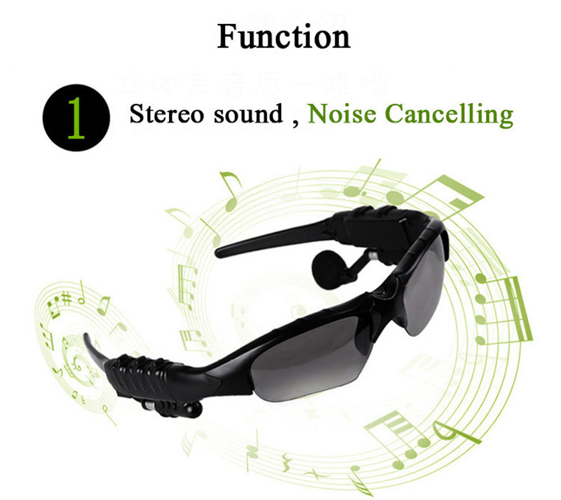 Bluetooth Sunglasses Outdoor Smart Sun Glasses Wireless Headset with Microphone for Smart Phones black normal 14