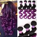 Ombre pelo brasileño Virginal Brasileño 7A onda del cuerpo 4 bundles brasileño onda del cuerpo 1B Púrpura negro púrpura extensiones de cabello humano