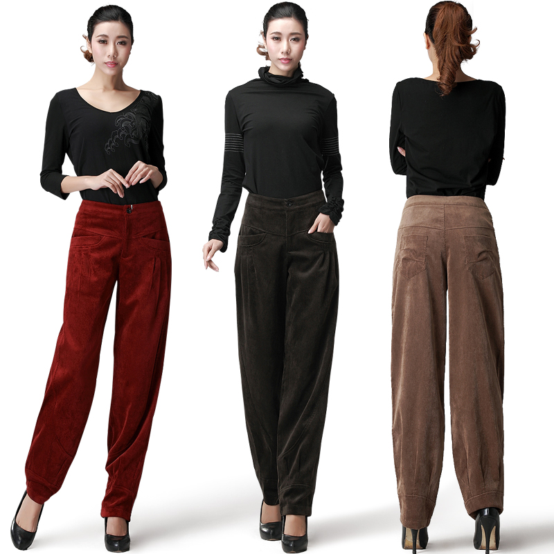 Womens Harem Pants 2017 New Spring and Summer Women Vintage Loose Trousers Female Casual Corduroy Pants/Ladies wide leg pants