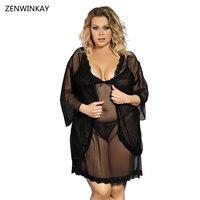 Femme Black Sleepshirt Lace Nightgowns Sexy Sleepwear Sets See Through Lingerie Nighty Suit Women Nightwear Plus Size XL 3XL