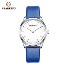 STARKING Men Watch Gold Black Genuine Leather Strap Luxury Quartz Watch China Brand Wristwatch Simple Male Clock 3ATM waterproof
