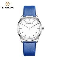 STARKING Men Watch Gold Black Genuine Leather Strap Luxury Quartz Watch China Brand Wristwatch Simple Male Clock 3ATM waterproof