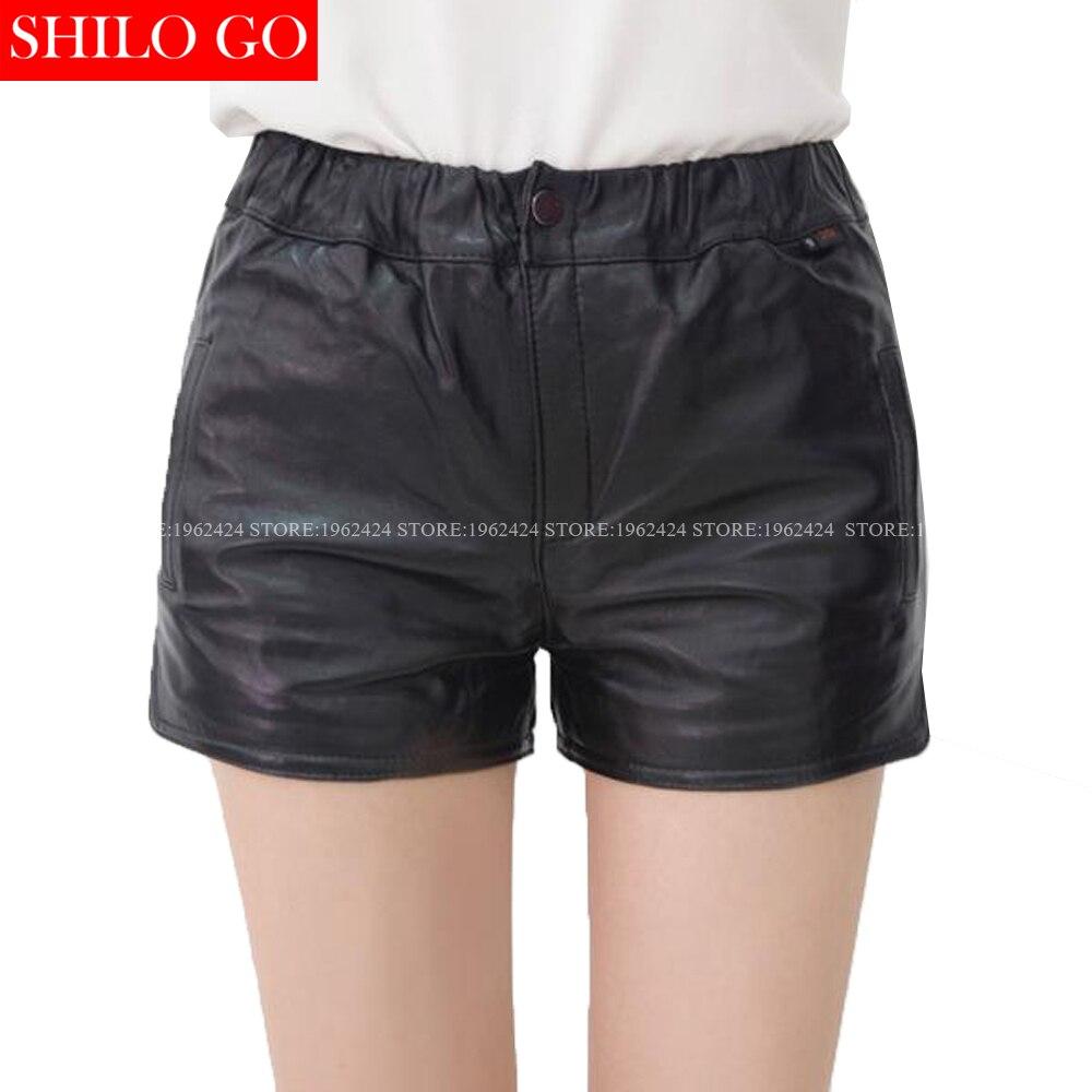 SHILO GO Fashion Street Women's Blet Sexy Colours Short V-Neck Sheepskin Genuine Leather Sleeveless Ruffles Shirt Ladies Shorts