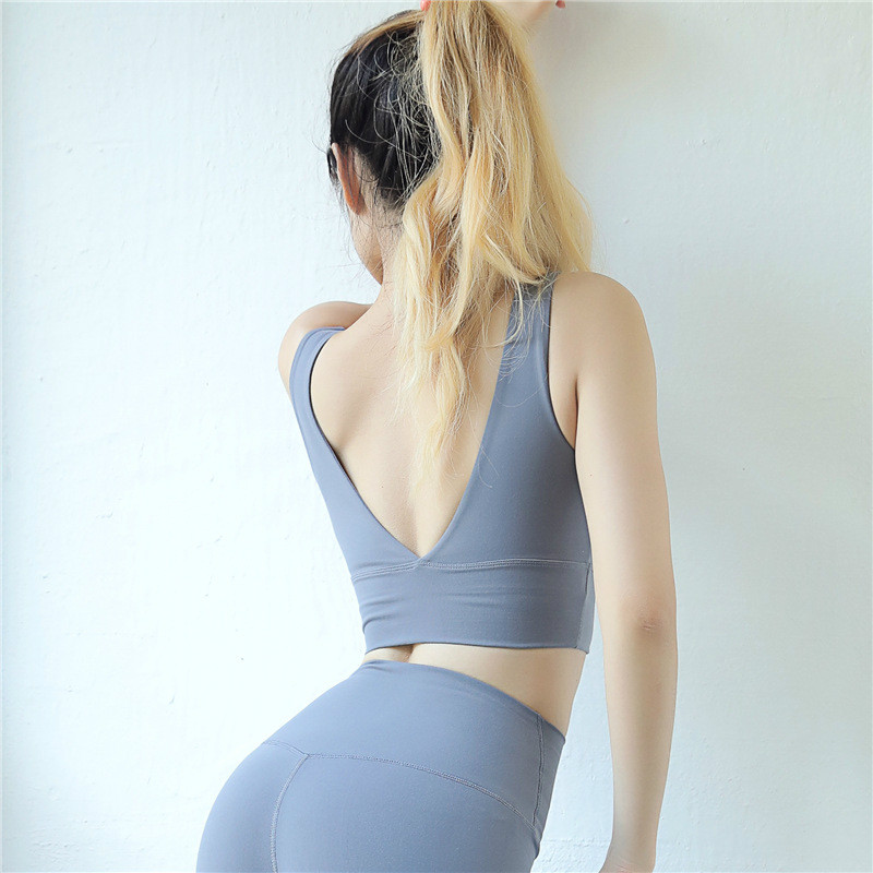 Colorvalue Sexy Deep-V Yoga Sports Bras Women Push Up Nylon Workout Fitness Crop Top Vest-Type Gym Exercise Sport Brassiere