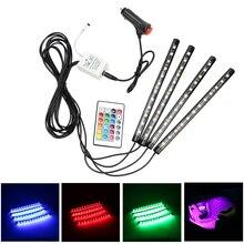 4×12 светодио дный LED s RGB Автомобильная атмосфера лампа с пультом дистанционного управления автомобиля Внутренние огни декоративная лампа светодио дный лента лампа 16 цветов автомобиля-Стайлинг