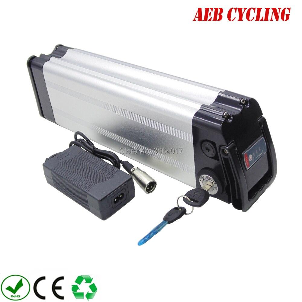 Frete grátis e impostos para a UE EUA caso de alumínio 36 v 10Ah ebike bateria de iões de Lítio de prata peixe elétrico bateria bicicleta