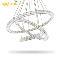 Modern Led Chandelier Lighting K9 Crystal Ring Chrome Chandelier With Remote Control Lustre For Living Room