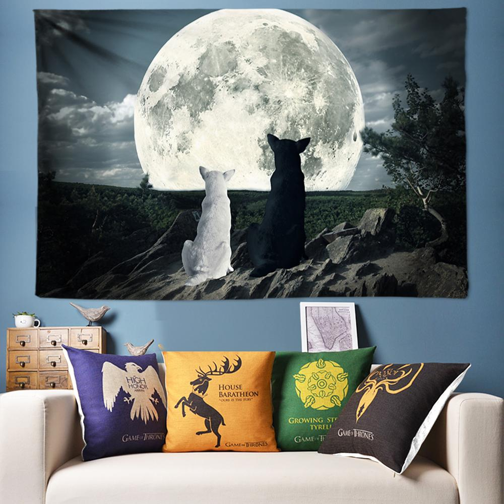 Halloween Decoration Wall Tapestry Wolf Moon Psychedelic Universe Hanging Angel Hippie Chakra Tapestries