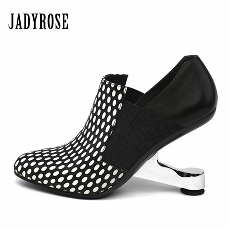 где купить Jady Rose Metal Strange Heel Women Ankle Boots Female Dot Genuine Leather Botas High Heel Shoes Woman Women Pumps Wedding Shoes по лучшей цене
