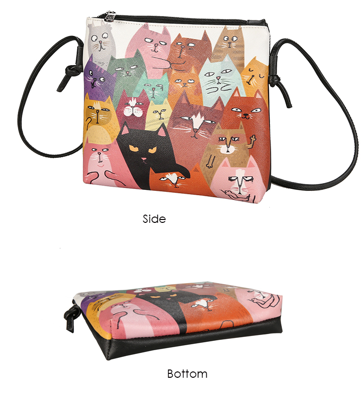 Menghuo 2017 Women Envelope Shoulder Clutch Bag Quality PU Cartoon Cat Printing Small Female Message Purse for Teenagers Girls (29)