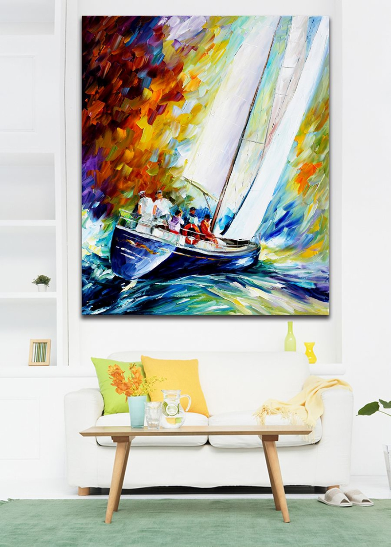 Sail boat painting promotion shop for promotional sail for Modern art paintings for home