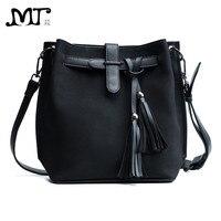MJ Phụ Nữ Túi Vai Nữ PU Leather Tassel Bucket Bag Vintage Leather Sứ Giả Crossbody Túi Vai Túi Xách Big Công Suất