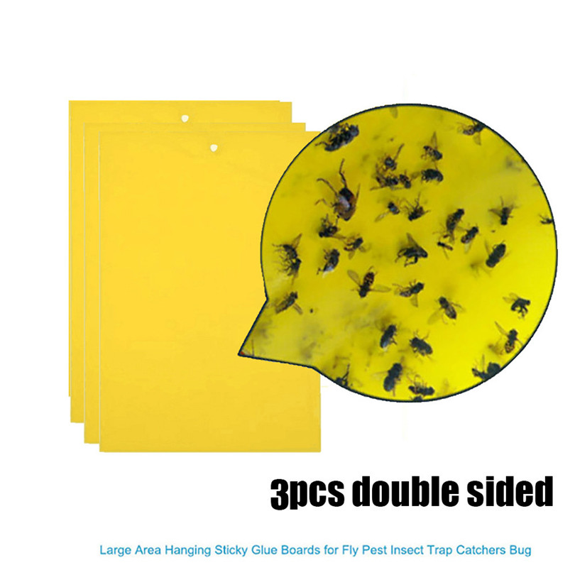 3Pcs Strong Flies Traps Bugs Sticky Board Catching Aphid Insects Pest Killer Pest Control Whitefly Thrip Leafminer GlueSticker40
