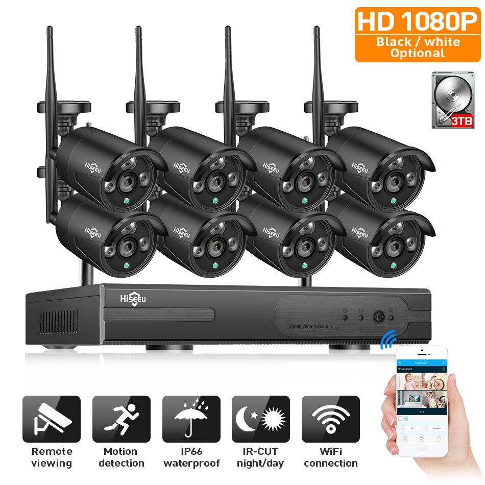 2MP CCTV Системы 1080 P 8ch HD Беспроводной NVR комплект 3 ТБ HDD Открытый ИК Ночное видение IP Wi-Fi Камера безопасности системы наблюдения Hiseeu
