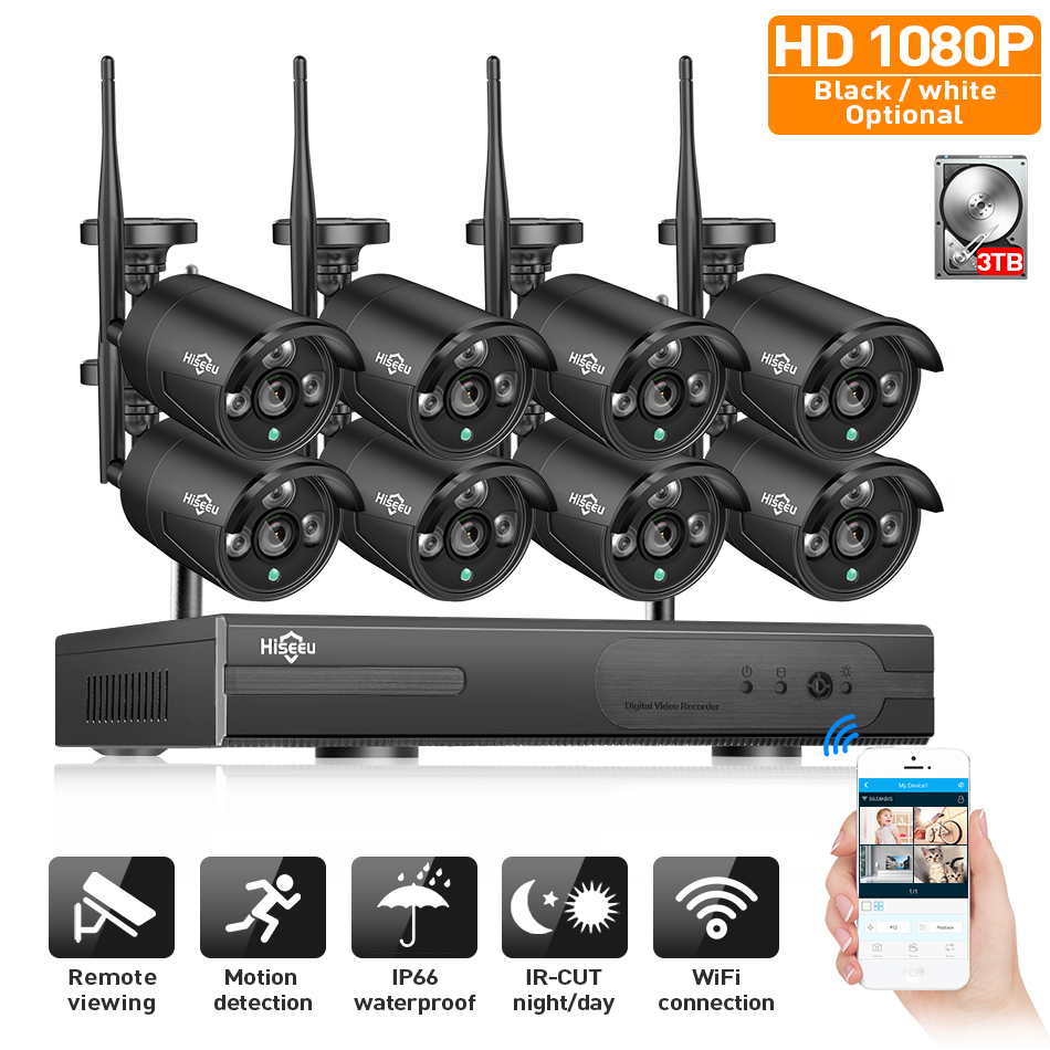 2MP CCTV System 1080P 8ch HD Wireless NVR kit 3TB HDD Outdoor IR Night Vision IP Wifi Camera Security System Surveillance Hiseeu free shipping 700tvl 8ch hd ir cctv security camera system security outdoor waterproof camera security surveillance system kit