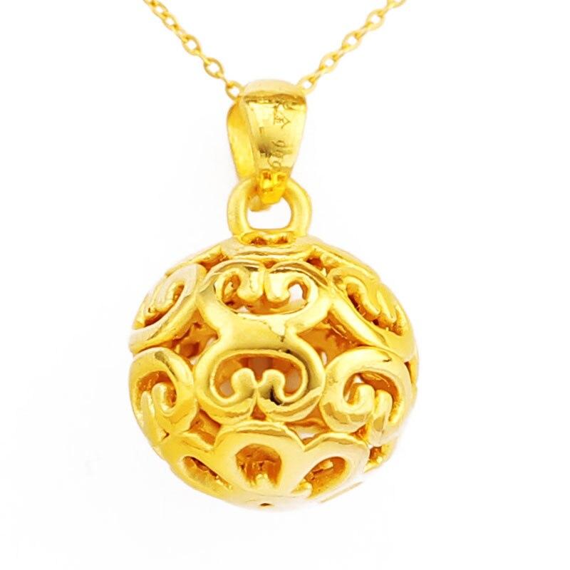 24 K or jaune pendentif 3D 999 or jaune creux collier pendentif P6224