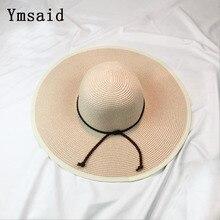 Ymsaid verano sombreros para las mujeres chapeau Femme Sol Sombrero panamá  de la playa del sombrero de paja de ala ancha grande . 6b3fd34ded2