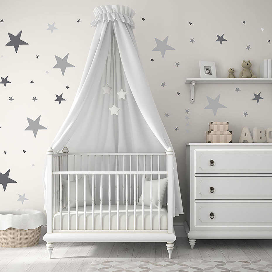 Colorful stars polka dots vinyl sticker for wall nursery baby room decor art murals removable waterproof wallpaper home decor