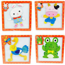 Childrens 3D cartoon animals magnetic puzzle, white panel. Stereo children wooden puzzles Free shipping price of the factory
