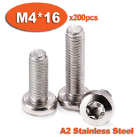 200pcs DIN7985 M4 x 16 A2 Stainless Steel Torx Pan Head Machine Screw Screws