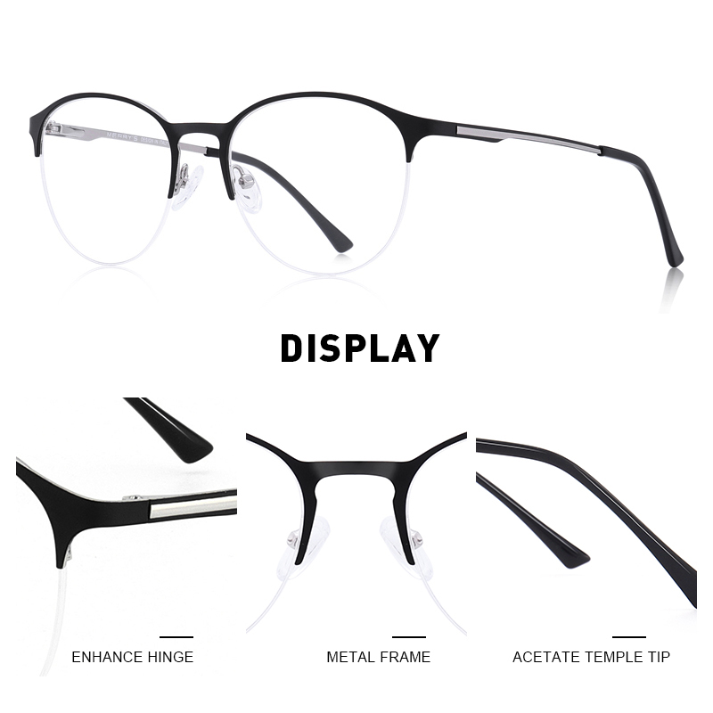 Image 2 - MERRYS Unisex Fashion Oval Glasses Frame Men/Women Myopia Prescription Half Optical Eyeglasses S2042-in Men's Eyewear Frames from Apparel Accessories on AliExpress