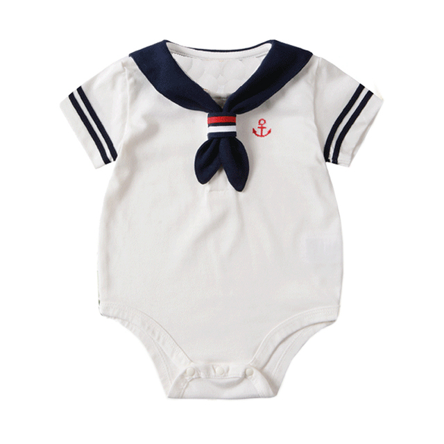 78c5040328d3 2018 Newborn baby clothes White Navy Sailor uniforms summer baby ...